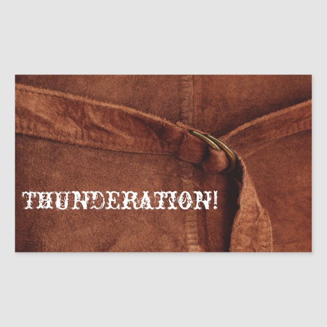THUNDERATION! old-timey white font on Suede Photo