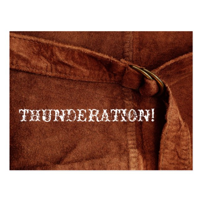 THUNDERATION! old-timey white text on Suede Photo