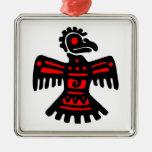 Thunderbird azteca adorno cuadrado plateado