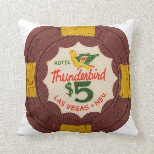 Thunderbird Poker Chip Las Vegas Throw Pillow