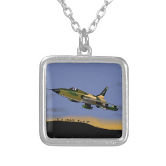 Thunderchief F105 Fighter Bomber Silver Plated Necklace