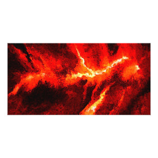 Thunders - Red Abstract Modern Art Picture Card