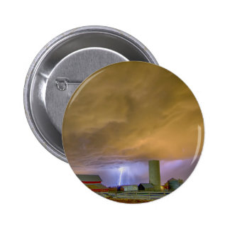 Thunderstorm Hunkering Down On The Farm Pinback Button