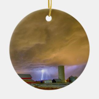 Thunderstorm Hunkering Down On The Farm Ceramic Ornament