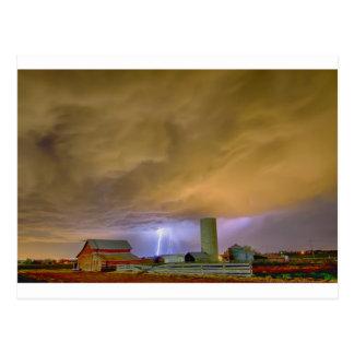 Thunderstorm Hunkering Down On The Farm Postcard