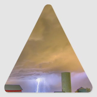 Thunderstorm Hunkering Down On The Farm Triangle Sticker