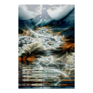 thunderstorm over the mountain lake poster