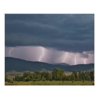 Thunderstorm produced lightning in the Jocko Poster