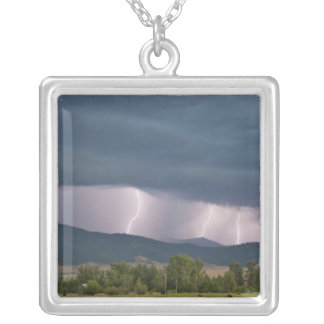 Thunderstorm produced lightning in the Jocko Silver Plated Necklace