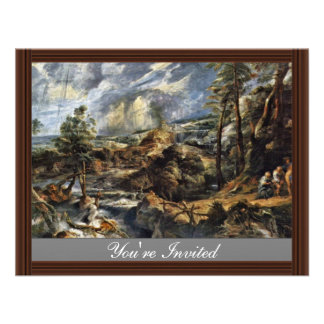 Thunderstorms Landscape With Philemon And Baucis Personalized Invitations