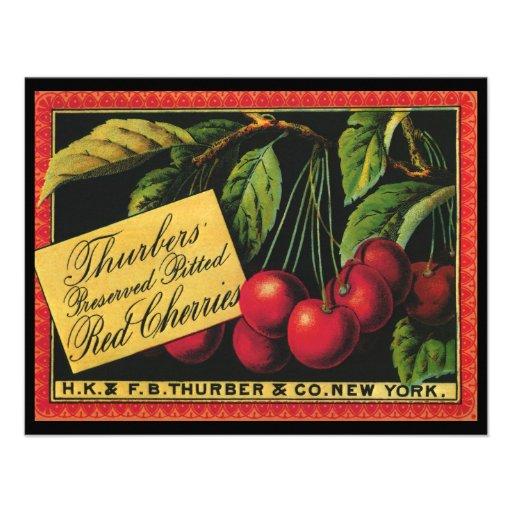 Thurber Cherries, Vintage Fruit Crate Label Art Invitations