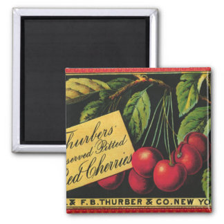 Thurber Cherries, Vintage Fruit Crate Label Art Magnet