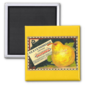 Thurber Pears Vintage Crate Label 2 Inch Square Magnet