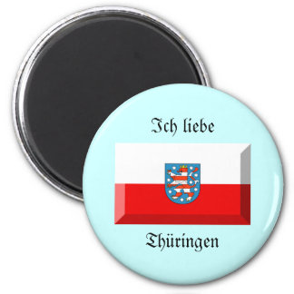Thuringen Flag Gem 2 Inch Round Magnet