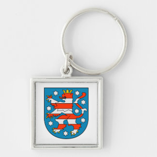 Thuringia coat of arms Silver-Colored square keychain