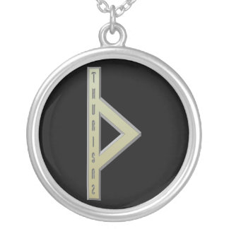 Thurisaz Rune gold Silver Plated Necklace