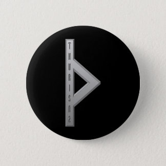 Thurisaz Rune grey Pinback Button