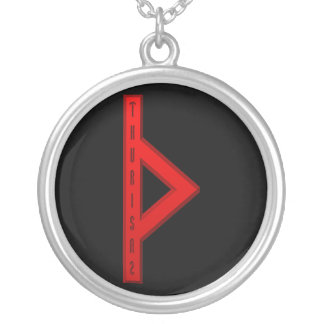 Thurisaz Rune red Silver Plated Necklace