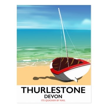 Thurlestone South Devon travel poster Postcard