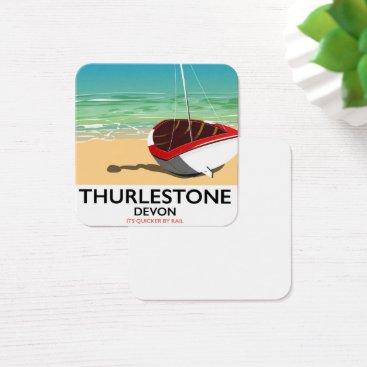 Thurlestone South Devon travel poster Square Business Card