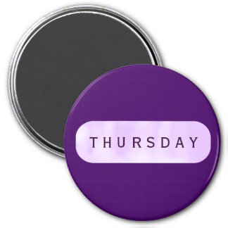 Thursday Purple Large Round Magnet by Janz