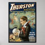 Thurston el acto mágico del gran del mago vintage  póster