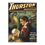 Thurston el gran mago que sostiene el cráneo mágic impresion en lona