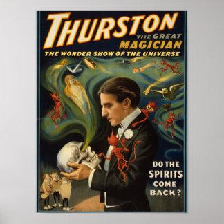 Thurston el gran mago que sostiene el cráneo mágic póster