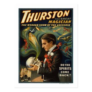 Thurston el gran mago que sostiene el cráneo postales