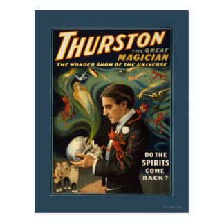 Thurston el gran mago que sostiene el cráneo tarjetas postales