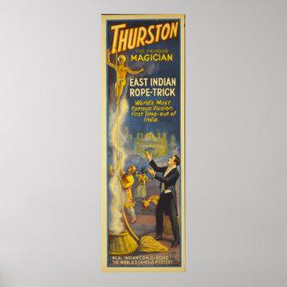 Thurston el mago - truco de la cuerda del indio póster