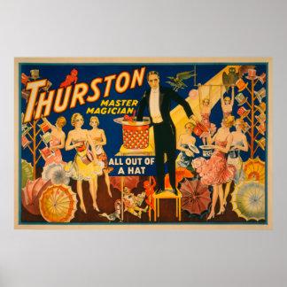 """Thurston, mago principal """"fuera magia de un gorra"""" póster"""