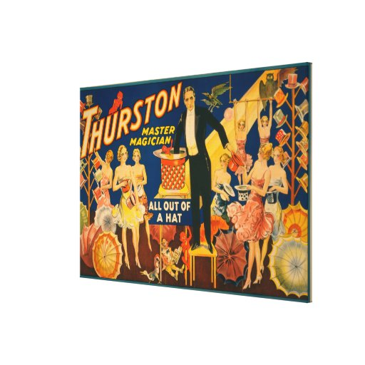 """Thurston, Master Magician """"Out of a Hat"""" Magic Stretched Canvas Print"""