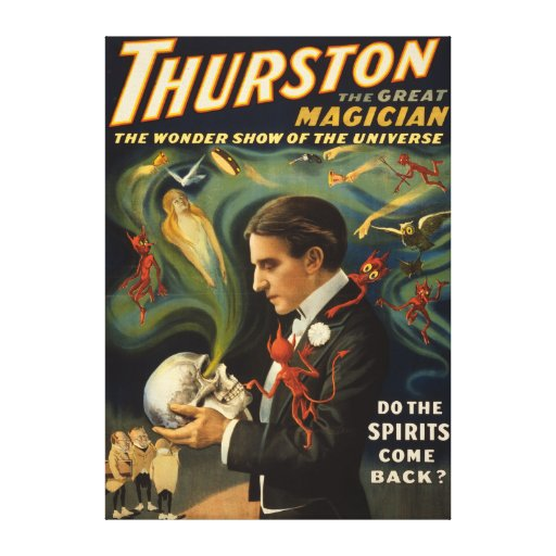 Thurston the Great Magician Holding Skull Magic Gallery Wrap Canvas