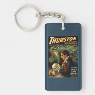 Thurston the Great Magician Holding Skull Magic Double-Sided Rectangular Acrylic Keychain