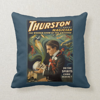 Thurston the Great Magician Holding Skull Magic Throw Pillow