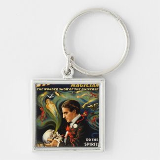 Thurston the Great Magician Silver-Colored Square Keychain