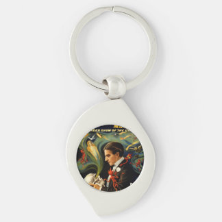 Thurston the Great Magician Silver-Colored Swirl Metal Keychain