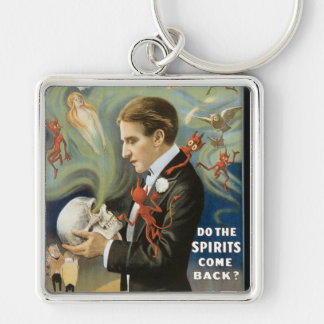 Thurston The Great Vintage Magician Poster Silver-Colored Square Keychain