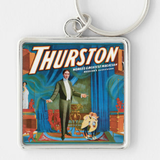 Thurston Vintage 1910 Magician Poster Silver-Colored Square Keychain