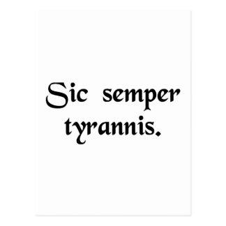 Thus always to tyrants. postcard