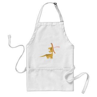 Thylacine de bostezo del dibujo animado lindo que  delantales