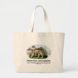 Thylacinus cynocephalus (Tasmanian tiger or wolf) Large Tote Bag