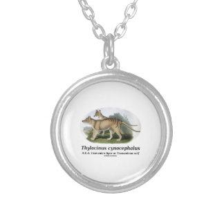 Thylacinus cynocephalus (Tasmanian tiger or wolf) Round Pendant Necklace
