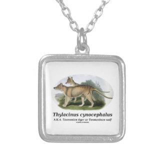 Thylacinus cynocephalus (Tasmanian tiger or wolf) Square Pendant Necklace