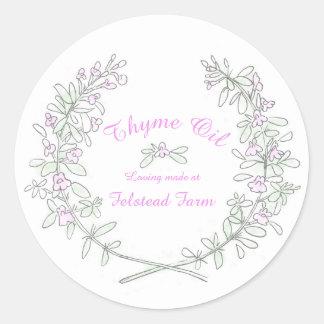 Thyme wreath art Thyme oil sticker