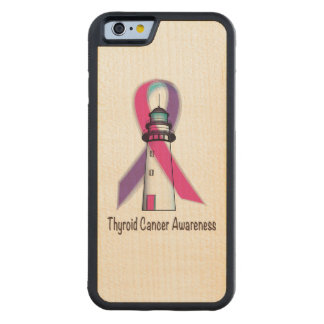 Thyrioid Cancer Awareness Ribbon Carved Maple iPhone 6 Bumper Case