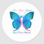 Thyroid Butterfly- Live Love Laugh Round Stickers