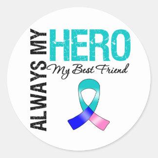 Thyroid Cancer ALWAYS MY HERO MY BEST FRIEND Round Sticker