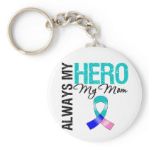 Thyroid Cancer ALWAYS MY HERO MY Mom Keychain
